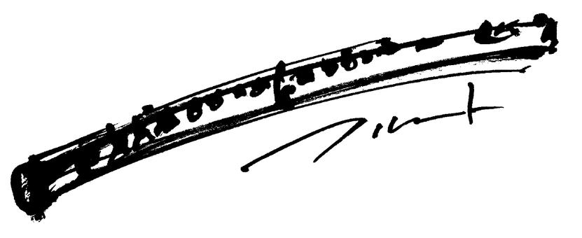 """Brush illustration """"flute"""""""