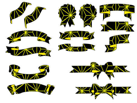 Japanese Pattern Ribbon Black Gold