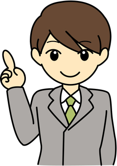 Male pointing finger Gray suit upper body