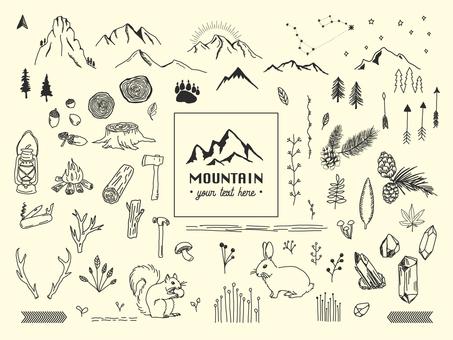 山アウトドアの手描き素材セット01