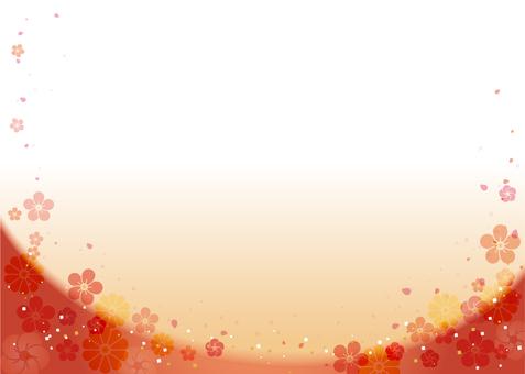 Japanese style background (plum, chrysanthemum)