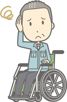 Middle-aged man work clothes - wheelchair troubled - whole body