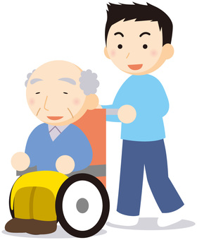 휠체어의 남성과 남성