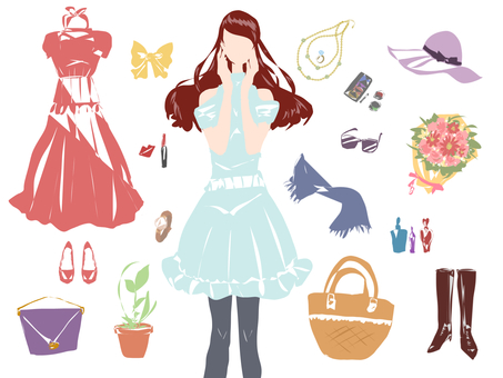 Illustration of women and accessories