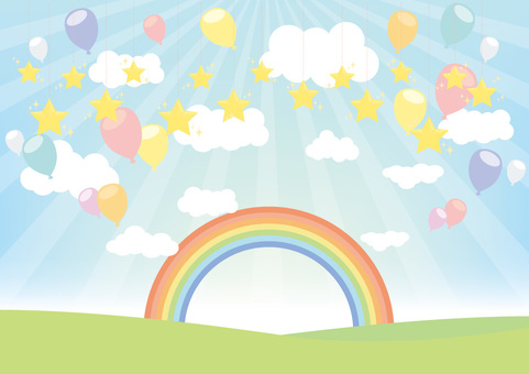 Balloon and star and rainbow background