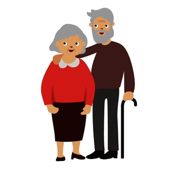 Elderly couple standing side by side