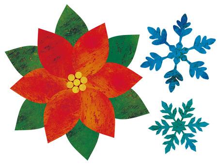 Poinsettia and snowflakes
