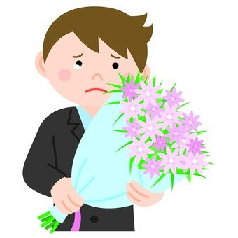 A young employee who receives a bouquet and tears, upper body