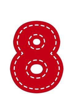 Numerals (8) Applique style