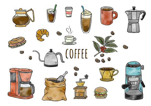 손으로 그린 일러스트 : 커피 세트 칼라