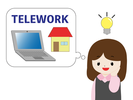 Woman thinking about telework