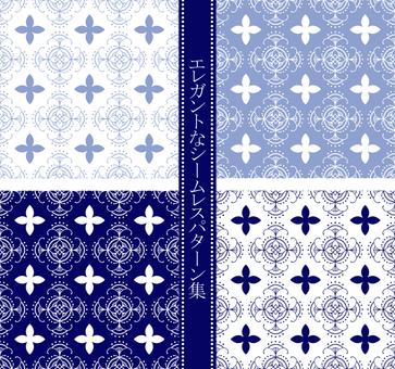Elegant seamless pattern set / blue