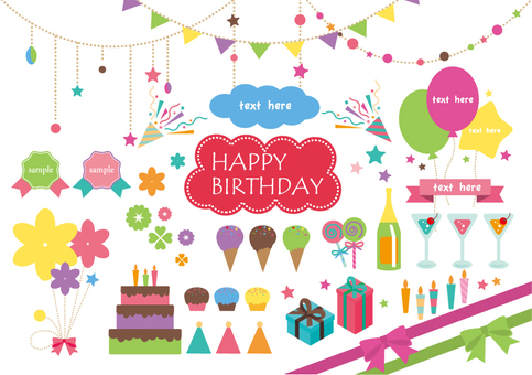 Colorful birthday material set
