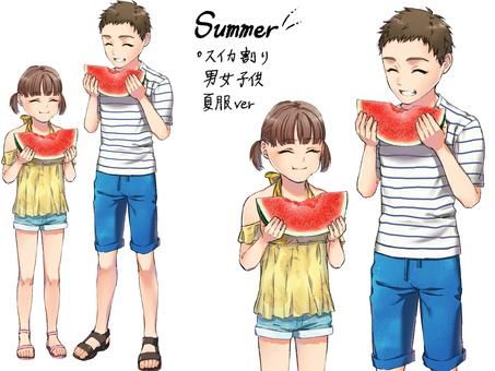 Watermelon split Children and men summer clothes