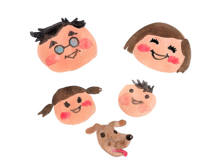 4 people family and dog