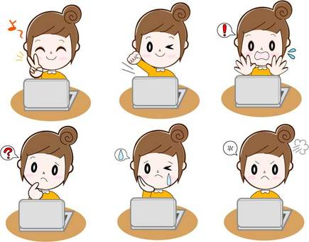 6 types of personal computers, female (bun head), upper body