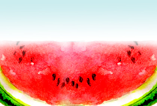 Warm watermelon in hot weather