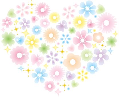Glittering flower heart (pastel)