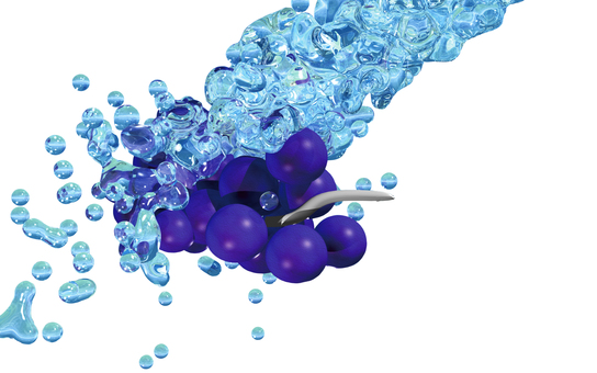 Water splashing on grapes (background permeation)