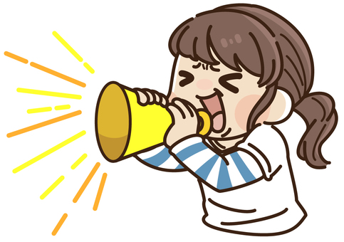 Girl supporting megaphone (bust up)