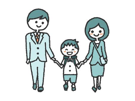 Hand-drawn parent-child entrance