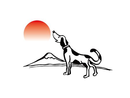 Mount Fuji and a dog