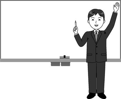 Whiteboard and male teacher (monochrome)
