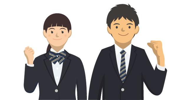 Student _ Uniforms of men and women -2 - 6 _ Half - body