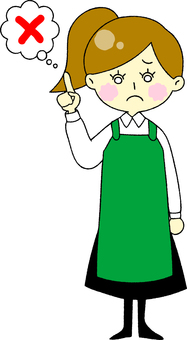Apron woman troubled face