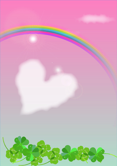 Rainbow and heart clouds and four leaf clovers