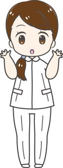 Surprised female nurse