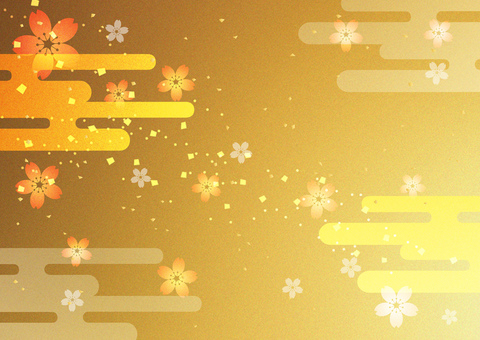 New Year _ sakura _ gold _ background