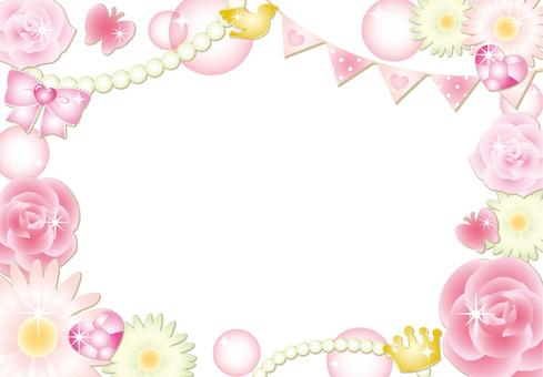 Girly Flower Frame (No Background Pink)