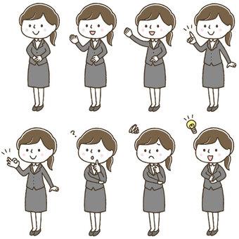 手描きのかわいい女性会社員表情ポーズ