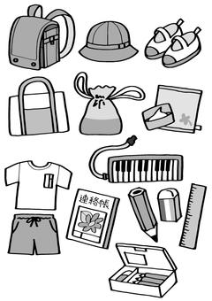 Assortment of elementary school students (monochrome)