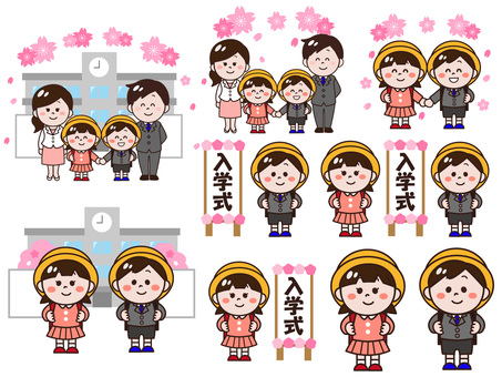 Illustration set of primary school entrance ceremony