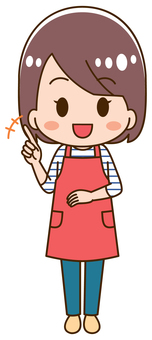 Illustration of a housewife pointing a finger