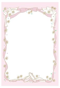 Vertical frame Toe shoes Ribbon Pink