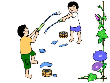 Children playing with bamboo water gun