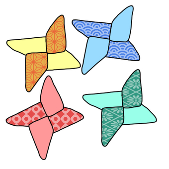 Colorful origami shuriken (with handle)