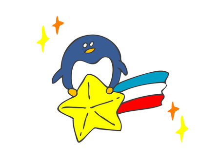 Penguin riding a shooting star