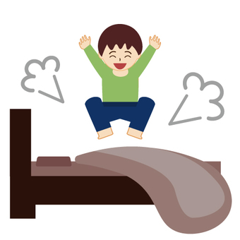 Children jumping at bed