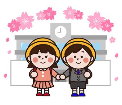 一個女孩和一個男孩站在學校大樓前(入學典禮)
