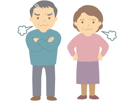 Middle-aged man and woman who gets angry