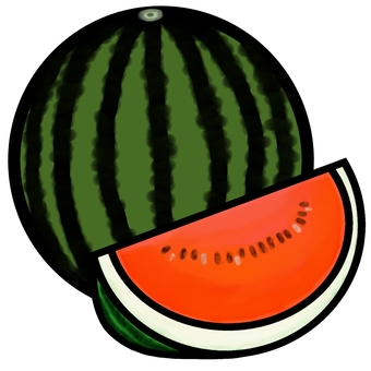 Whole watermelon and comb cut watermelon