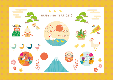 2017 New Year's card of Rooster Year 3 (Correction)