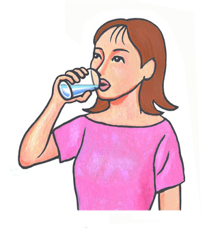 Woman drinking water with glass