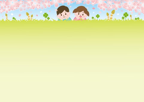 Children lying on the lawn of spring _ cherry blossoms A 01