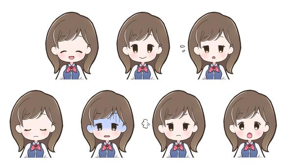 Female facial expression set _ uniform _ 201 _ D