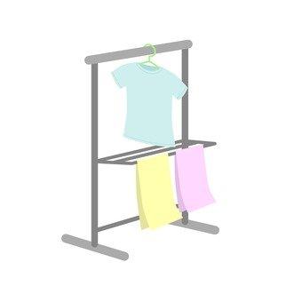 Laundry hanging on hanger rack